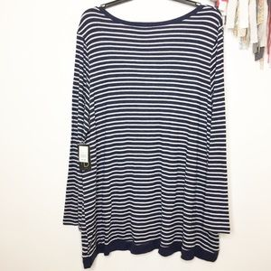 Fred David Tops - NEW striped knit tunic navy blue white 3X